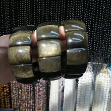 natural gold obsidian stone beads bracelet gemstone DIY jewelry for woman gift wholesale !