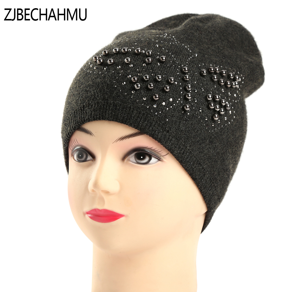 Fashion Women's Winter Hats Knitted Real Wool Beanie Casual Hat with Crystal Bow Solid Colors Ski Gorros Cap Casquette for Women 2017 winter women beanie skullies men hiphop hats knitted hat baggy crochet cap bonnets femme en laine homme gorros de lana