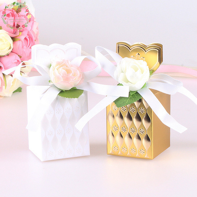 Big Heard Love 10pcs Flower Vase Wedding Favors Box Gift Boxes Baby