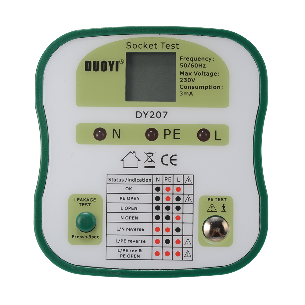 Electrical Leakage Tester : Electrical power socket tester polarity checker outlet