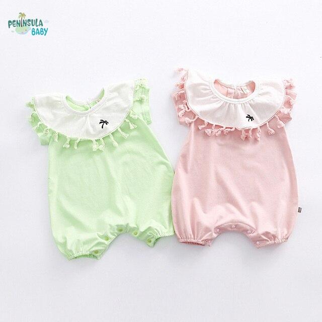 0055552c7 Peninsula Baby girls romper wholesale 2017 summer lady decorative collar  short sleeved newborn clothes