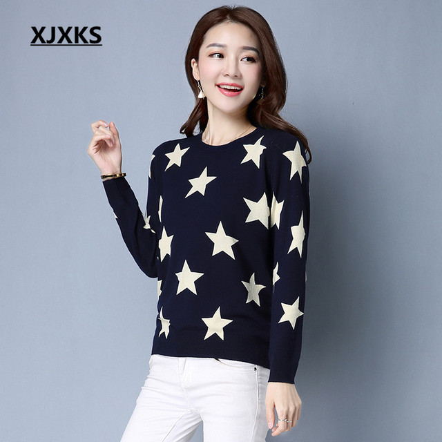 XJXKS Long Sleeve For Women Featured Fabrics Ladies Clothing Pullovers  Sweater L-XXL Stars Pattern Round Neck Sweaters. WINTER SALE f0587fbd7