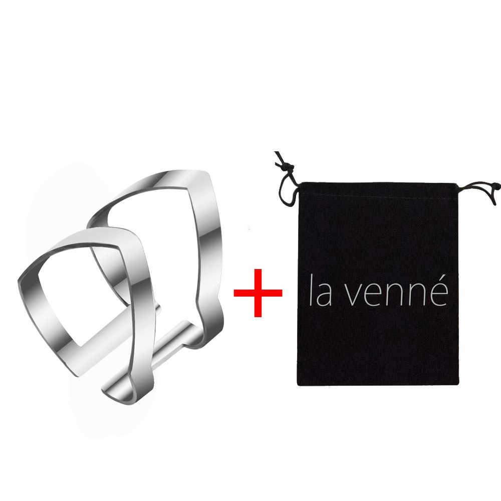 2018 新ゴールドシルバー幾何形状のリング調節可能な開口ラップ指輪ベルベットバッグ女性のファッションジュエリービジュー