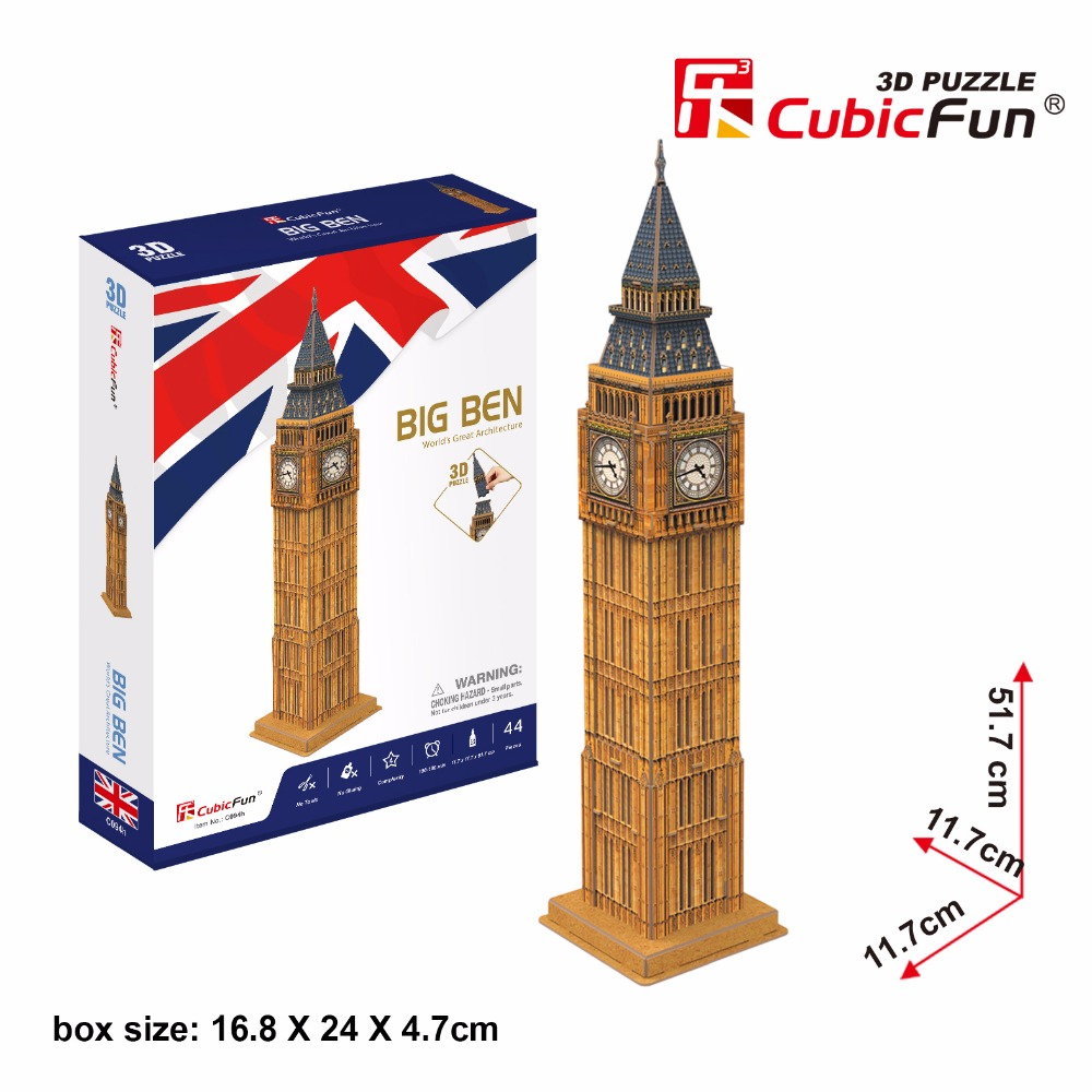 CubicFun 3D puzzle DIY toy children gift paper building model Big Ben London world's great architecture Christmas present cubicfun 3d paper model diy puzzle toy gift the spanish armada fleet philip ship boat t4017h children birthday free shipping