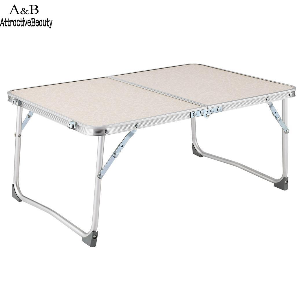 Desk in Half Foldable Laptop Table Superjare Bed Folds Breakfast Serving Bed Tray Portable Mini Picnic Table 1pc white multifunctional light foldable table dormitory bed notebook small desk picnic table laptop bed tray