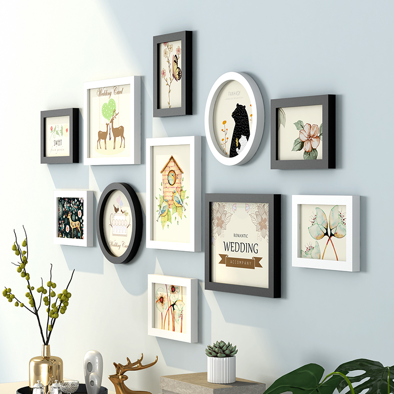 Modern Cute Pattern Wall Hanging Photo Frames Set 11pcs Wooden Picture Frames Suit Sofa Bed Livingroom Wall Decor Photo Frame