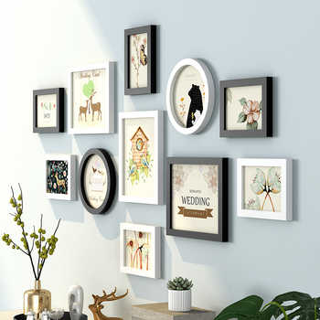 Modern Cute Pattern Wall Hanging Photo Frames Set 11pcs Wooden Picture Frames Suit Sofa Bed Livingroom Wall Decor Photo Frame - DISCOUNT ITEM  25% OFF All Category