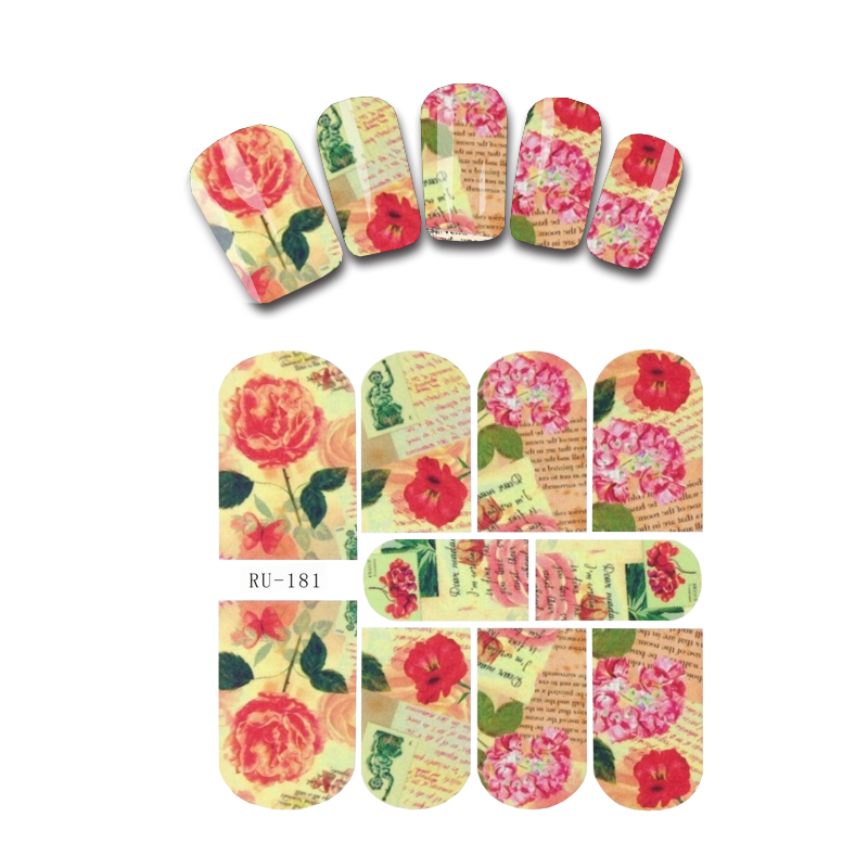 UPRETTEGO NAIL ART BEAUTY WATER DECAL SLIDER NAIL STICKER FLOWER LEAF VEIN TROPICAL BANANA TREE PERSIAN CAT RU181-186 vein finder vein viewer for adults children suitable vein viewer display lights imaging find vein medical