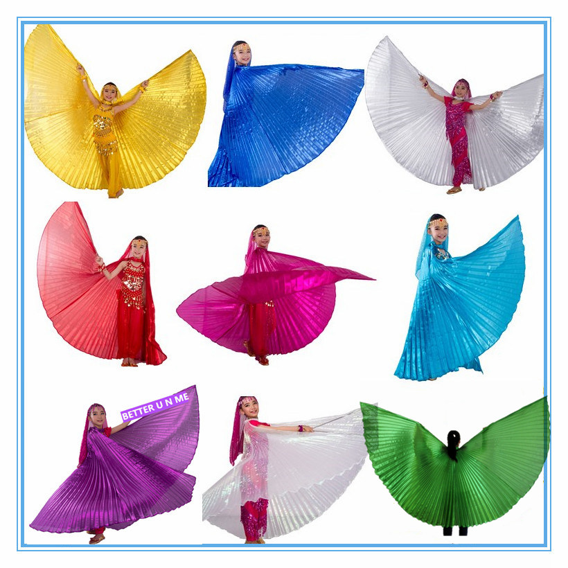 Belly Dance Costume Kids Belly Dance Wings Bollywood Costums Kids Gypsy Belly Dancing Gold for Girls Children 10 Colors Sticks