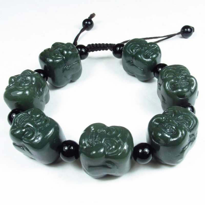 With Certificate Natural HETIAN Jade Beads Bracelet Carving Buddha Head Green HETIAN Jade Amulet Lucky Jade Jewellery
