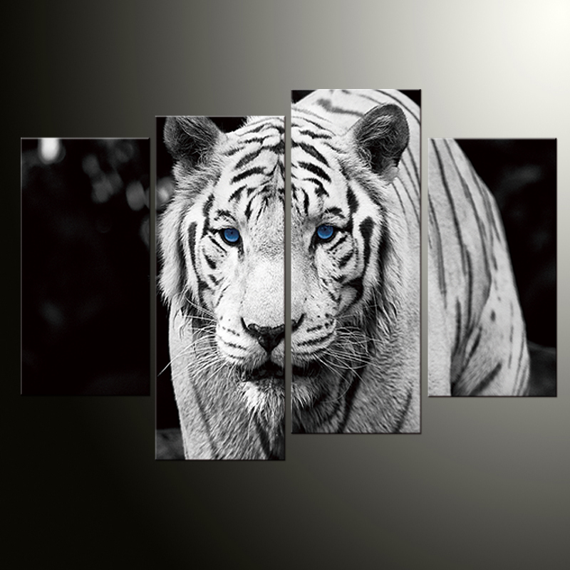 4 panely HD Printed Animal two White tygr Painting Canvas Print Room dekor tiskový plakát Picture Canvas
