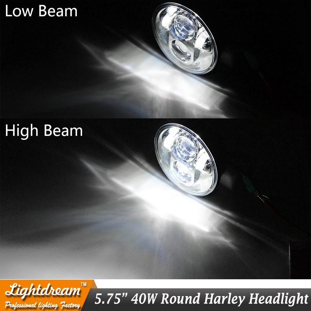 5.75'' Inch 40W H4 High Low beam LED Headlight 12V Projector Light for Harley Davidson Motorcycle Front Headlamp with Adapter x1
