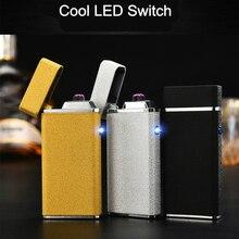 New Rechargeable Lighter Double Arc Plasma Cigar USB Lighters Metal 2 Cross Tobacco Electric Cigarette Lighter Windproof briquet
