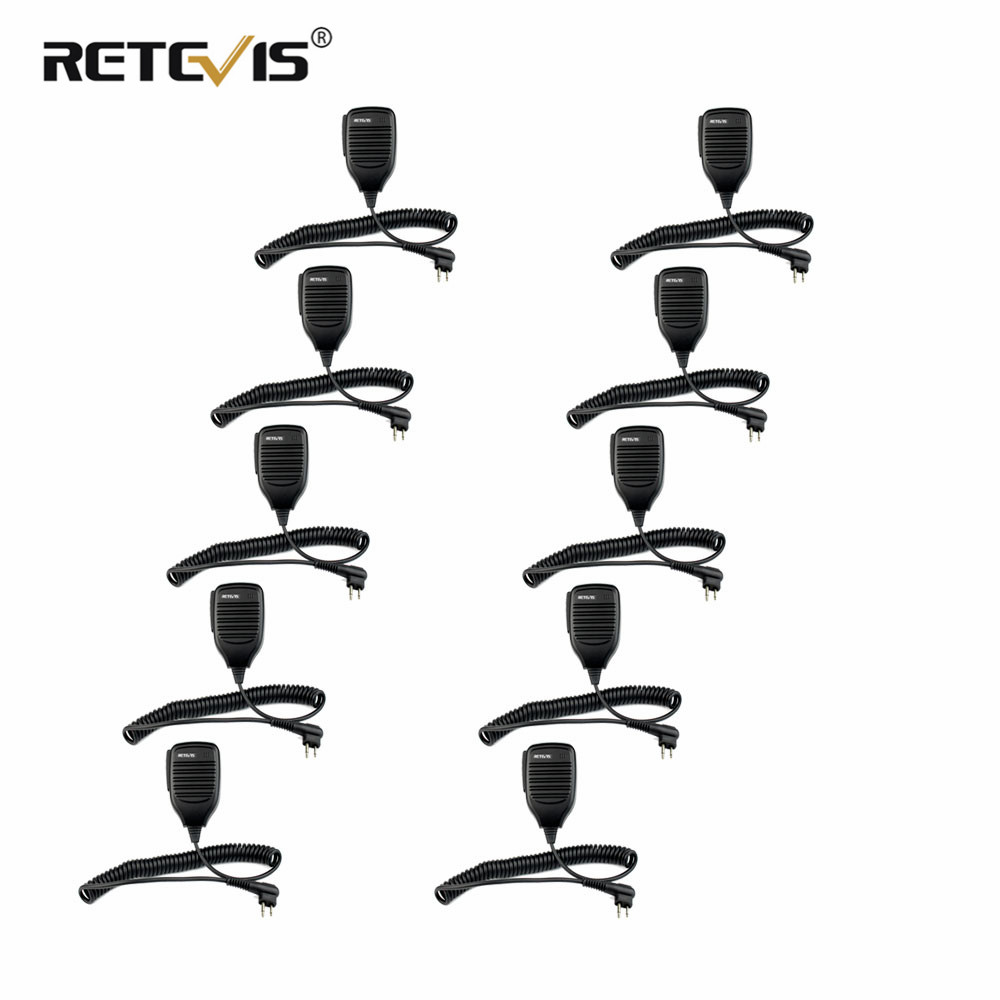 10pcs Wholesale Retevis R-321 2Pin PTT Speaker Microphone For Motorola GP68 GP300 FOR HYT TC-500 TC-610 Walkie Talkie Accessorie