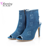 2017 NEW Women Boots Summer Autumn Peep Toe Ankle Boots Women Shoes Quality High Elastic Jeans
