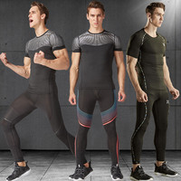 2017 Sports Sets Running Pant Leggings Clothes Men Compression Tights Gym Fitness Short Shirts Pants Quick