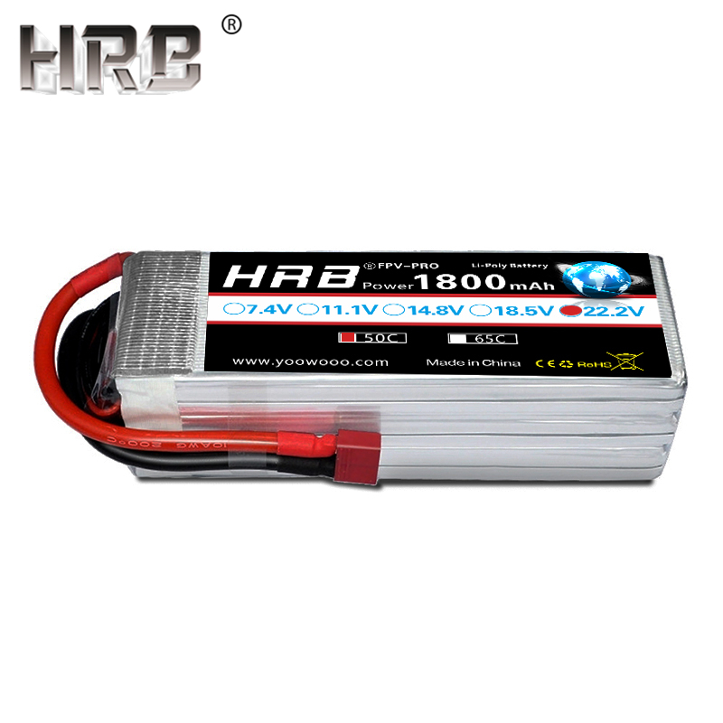 HRB 22.2V Lipo Battery 6S 1800mah XT60 T Deans XT90 TRX EC5 50C For MultiCopter FPV Racing Airplanes Buggy Car Boat RC Parts Hot
