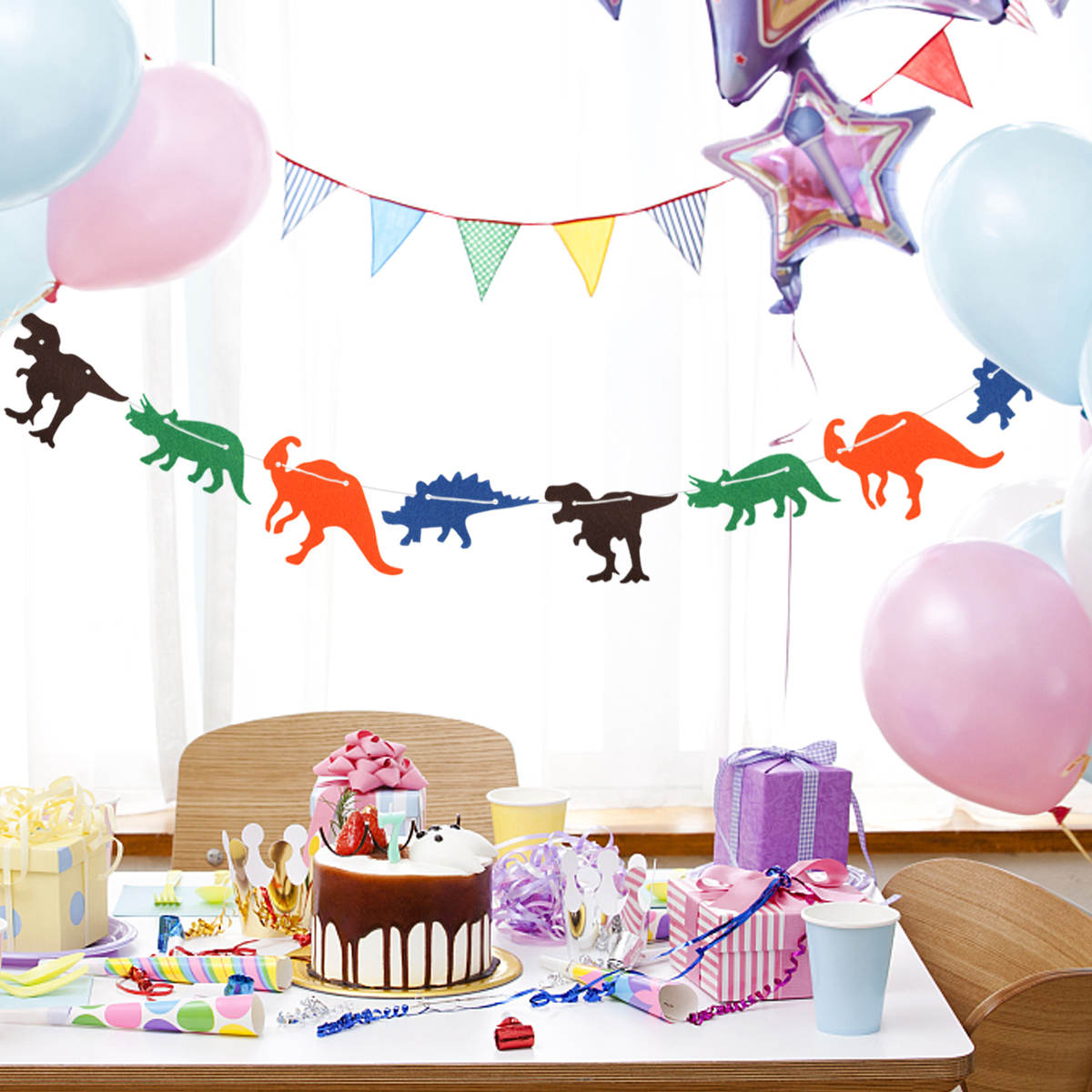 3M Hanging Banner Cute Non Woven Dinosaur Flag Creative Garland Banner Birthday Party Supplies Children Bedroom Decoration in Banners Streamers Confetti from Home Garden