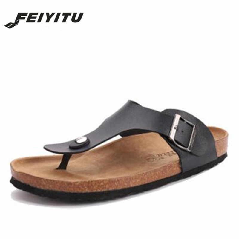 1233330aae7 Feiyitu Hot Sale New Men s Flip Flops 2018 Fashion Summer Man Beach Cork  Slippers Outdoors Casual