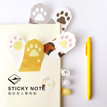 1 Set Memo Pads Sticky Notes Kawaii Cute Cat claw Paper Post It Daliy Scrapbooking Stickers Office School stationery Bookmark