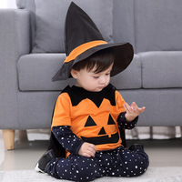 2018 halloween costumes for Kids 4PCS/Set Pumpkin suit stars wizard hat suitable for 1 3 years old children