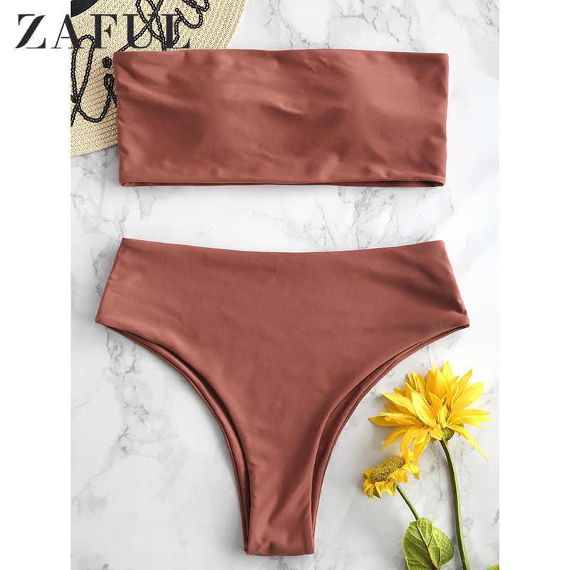 Zaful Đời Phong Cách Boho In Họa Tiết Lá Mùa Hè Nữ Bikini Bộ Dây Đệm Cổ Áo Tắm Nữ Đi Biển Bikini 2019 Mujer