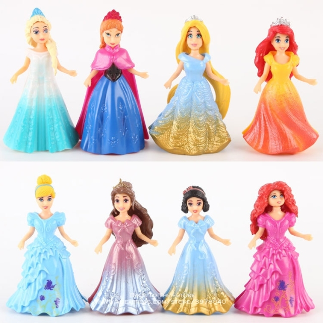 Disney Princess Magic Clip Dolls Dress Magiclip 8pcs/set 9cm Action Figure Anime Decoration Collection Figurine Toys model child
