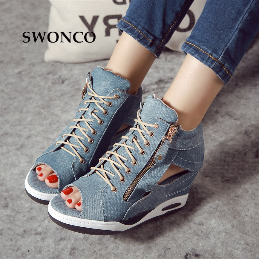 SWONCO Women's Sandals 2018 Summer Denim Height Increasing Ladies Shoes Gladiator Sandals Women Wedge Lace Up Woman Shoes summer air mesh women sandals fashion 2 colors open toe lace up wedge swing shoes height increasing platform sandals size 35 39