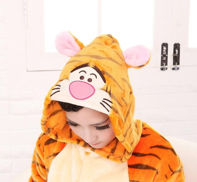 Women and Men Pyjamas Tiger Onesies Adults Tigger Flannel Pajamas Animal  Costumes Adult Cute Cartoon Animal Sleepwear Cosplay 51bcdcf80