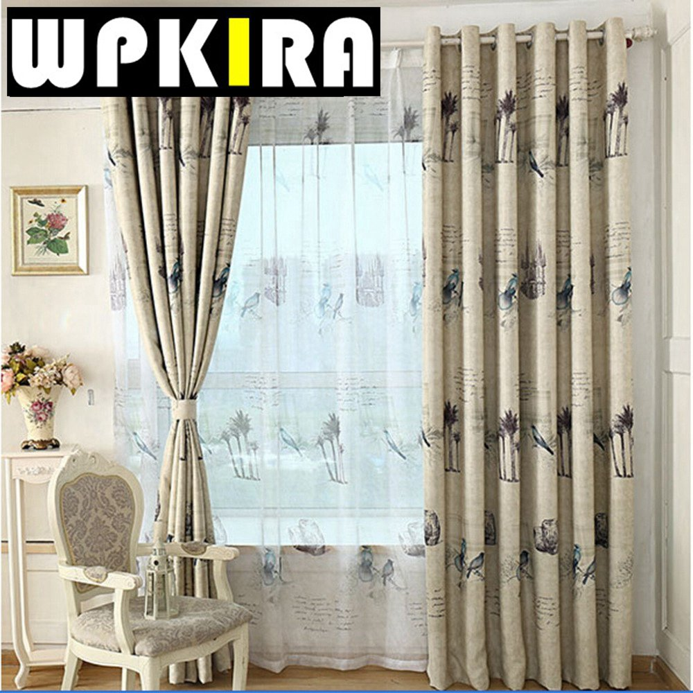 Bird curtain panels - Rustic American Island Patterned Kids Room Curtains Blackout Shade Digital Print Curtain Panels Drapes Birds Curtain