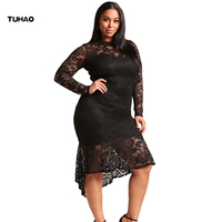 TUHAO Dresses Of The Big Sizes 2018 Spring Large Size Women S Elegant Dresses Lace Sexy