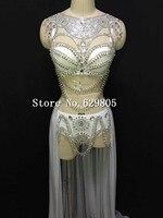 Кристально Сияющий Серебряный Белый наряд юбка костюм сценическая одежда для выпускного вечера сексуальный горный хрусталь Блестки Дизай