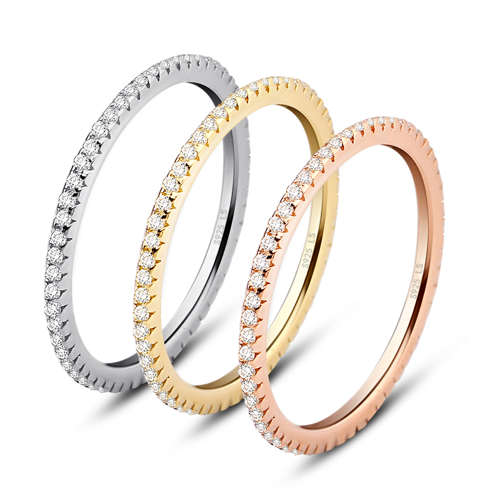 aliexpresscom buy luxury wedding rings set three color plating trendy women ring micro paved cz joyas 100 925 sterling silver ring free shipping from - Luxury Wedding Rings