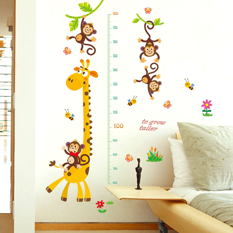 Height Growth Chart Ruler for Kids,Giraffe Height Chart Decal Child Height Wall Sticker Height Measurement Chart Wall Decals for Kids Room Bedroom Living Room Decor Cute Fox