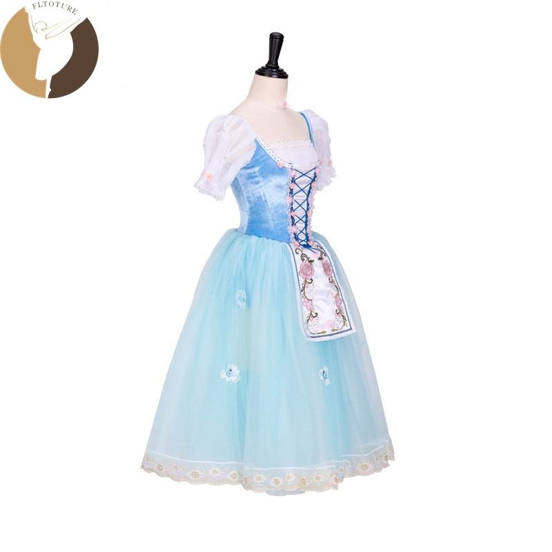 FLTOTURE AT1299 クラシックバレエロングドレスピンク/スカイブルーソフトスカートステージダンス衣装 La Fille Mal Gardee ロマンチックチュチュ  グループ上の ノベルティ & 特殊用途 からの バレエ の中 2