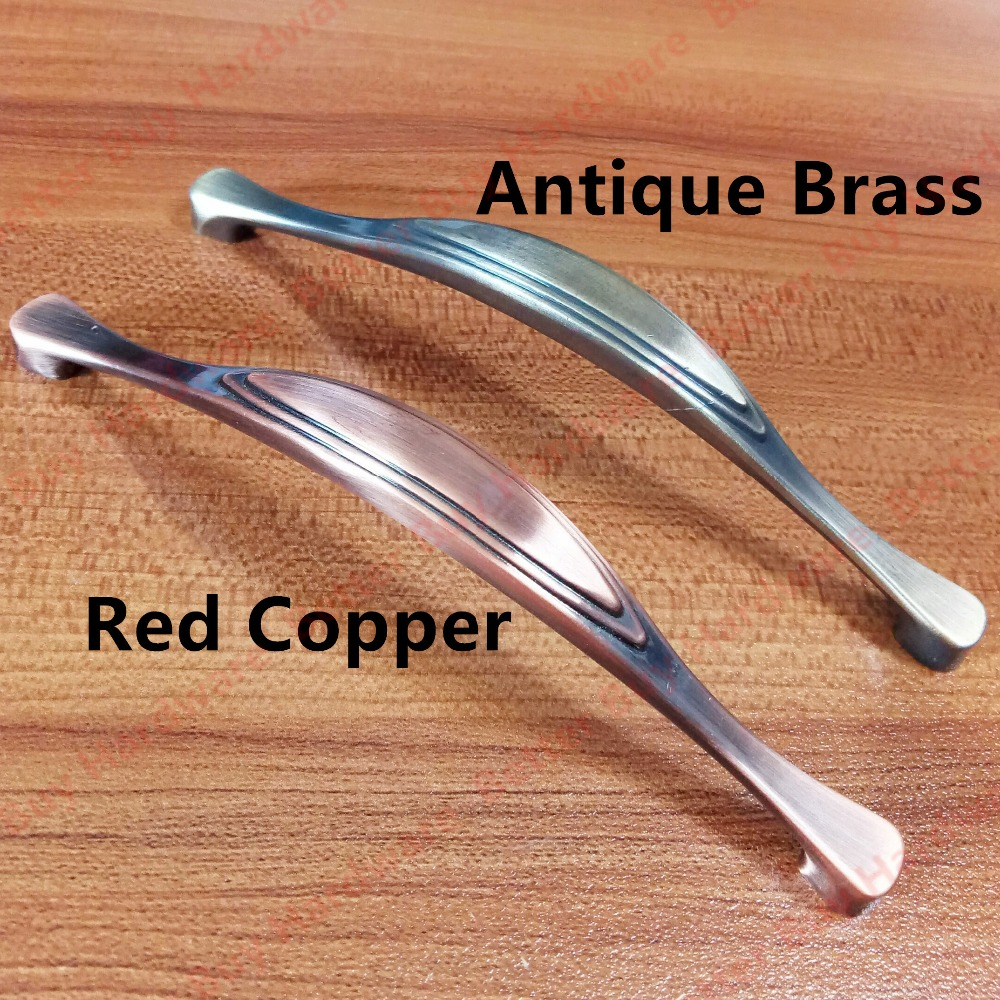 Length 136mm Hole Pitch 128mm Antique Brass/Red copper Zinc Alloy Kitchen Furniture pulls drawer handle dia 32mm red copper antique brass zinc alloy kitchen furniture knob bedroom drawer knob pulls