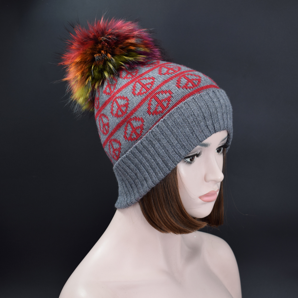 New Design Autumn winter Beanies hat knitted wool Skullies casual cap with Real Colorful raccoon fox fur pompon ski gorros cap knitted skullies cap the new winter all match thickened wool hat knitted cap children cap mz081
