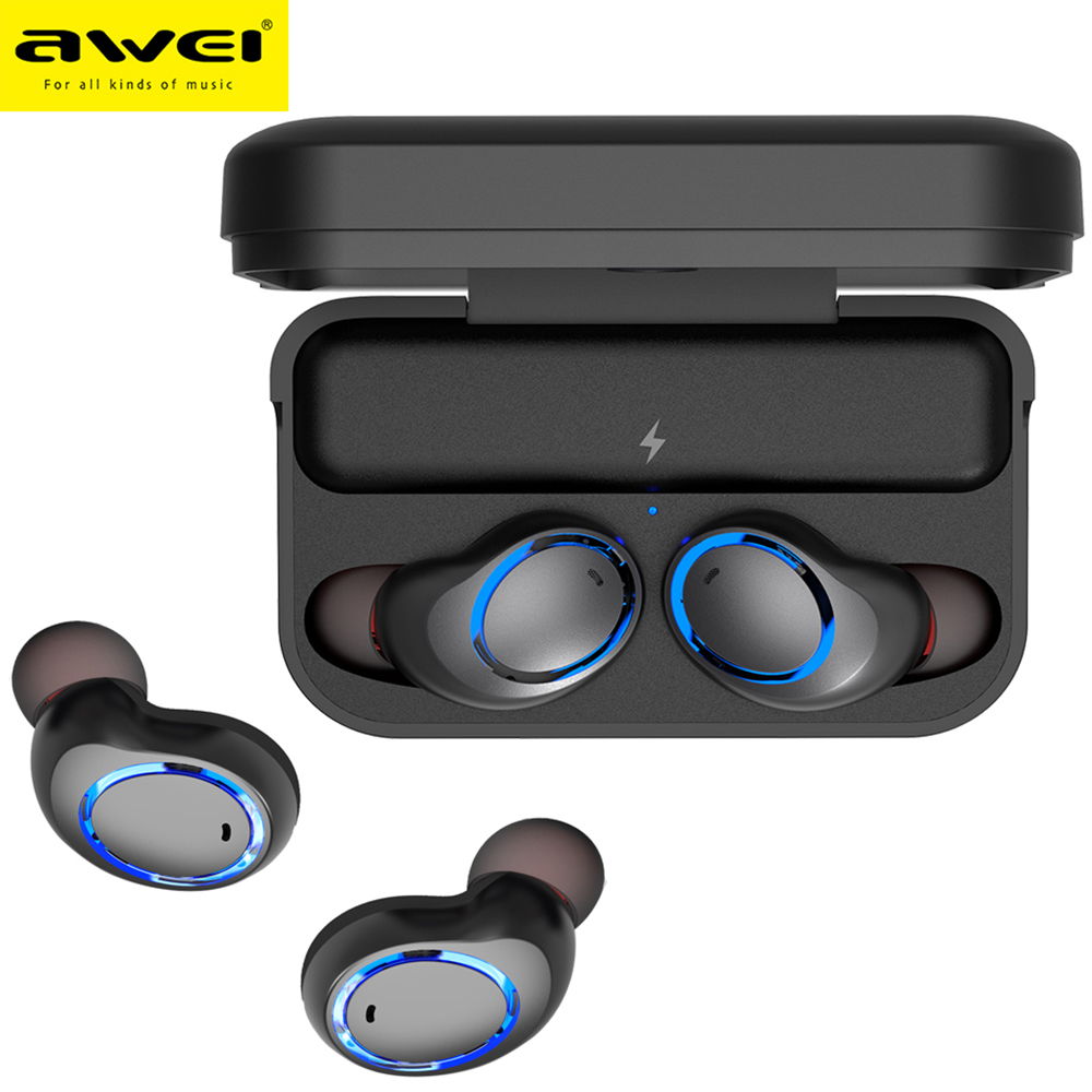 Awei T3 TWS Binaural Bluetooth Earphones IPX4 Waterproof Wireless In-Ear Stereo Earbuds With MIC And Charging Dock awei t1 wireless bluetooth earbuds black