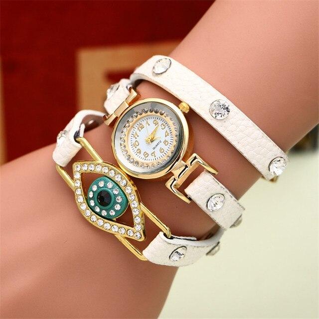 2e96e8fa4df Mulheres Relógios Homens relogio feminino reloj mujer Surround Requintado  Nobre Diamante Olho 3 Voltas de Couro