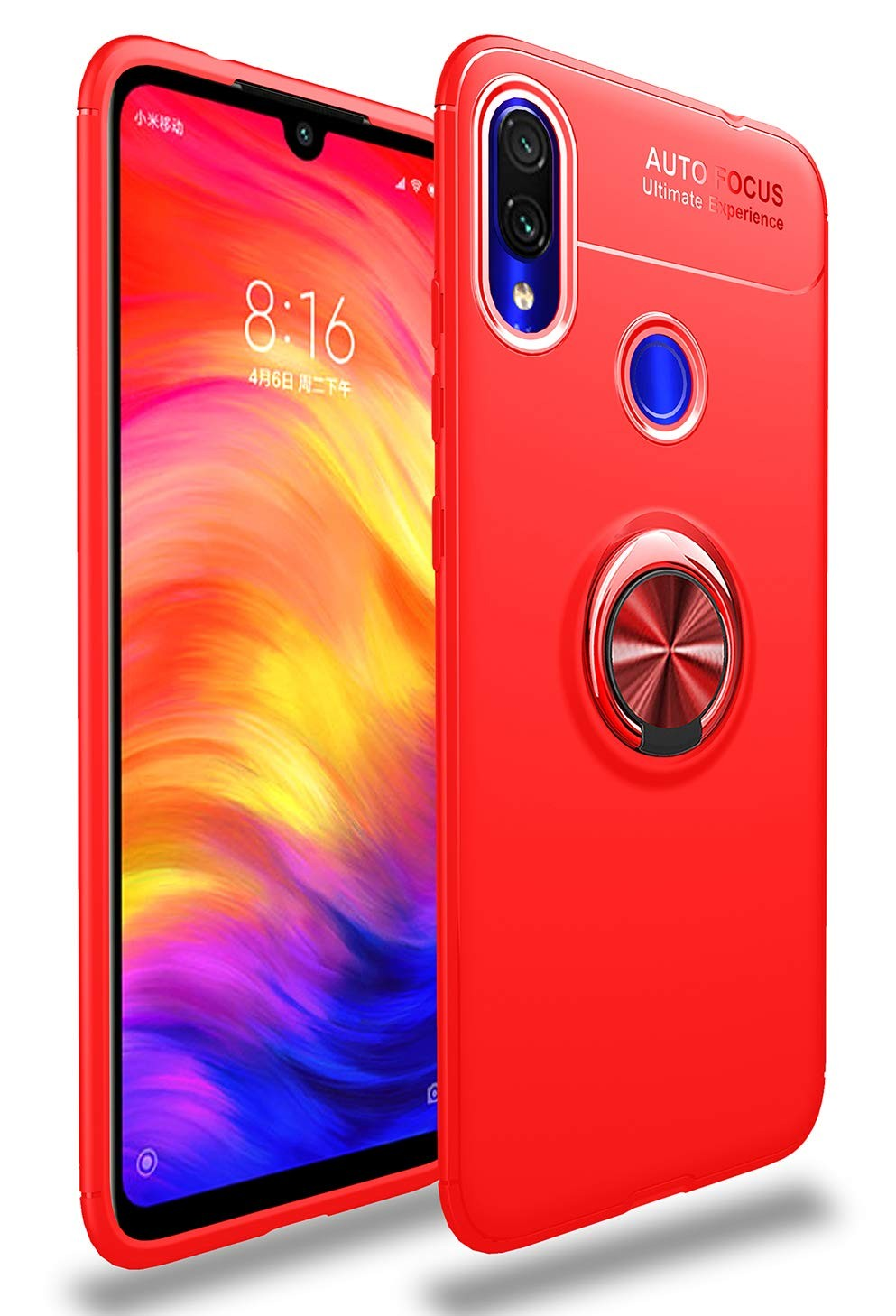 Stand case Silicone met Ring voor Xiaomi Redmi 7 Rood