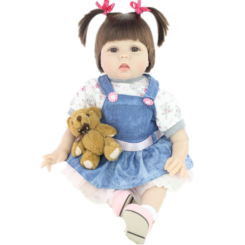 2016 New Lifelike Doll Reborn Realistic Silicone baby Doll Birthday gifts for Girls Rooted Hair 22inch Juguetes Brinquedos