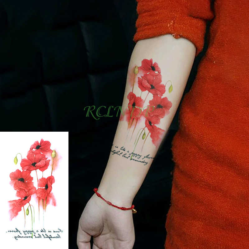Waterproof Temporary Tattoo Sticker On Foot Hand Arm Flower Rose