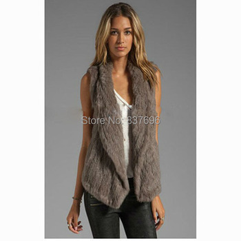 New Style Free Shipping Really Rabbit Fur Hand Knitted Vest Sleeveless Coat Ladies Fur Jacket Winter Warm Soft Outwear