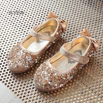 7ee644158 SLYXSH Новые Детские принцессы блестящие босоножки для девочек Мягкая обувь  нескользящие на низком каблуке платье обувь