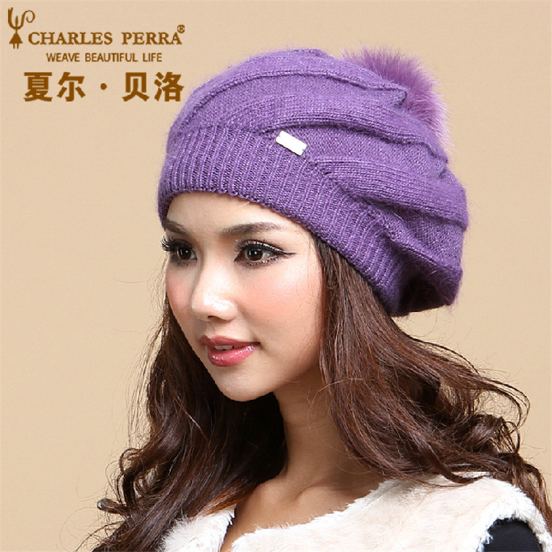 Charles Perra Women Winter Hats Double Layer Warm Wool Knitted Hat Casual Fashion Painter Cap Elegant Beanies Skullies 2854 animal printing new plus side men and women with the double layer of warm ladies pile heap cap skullies hat knitted hat stripe