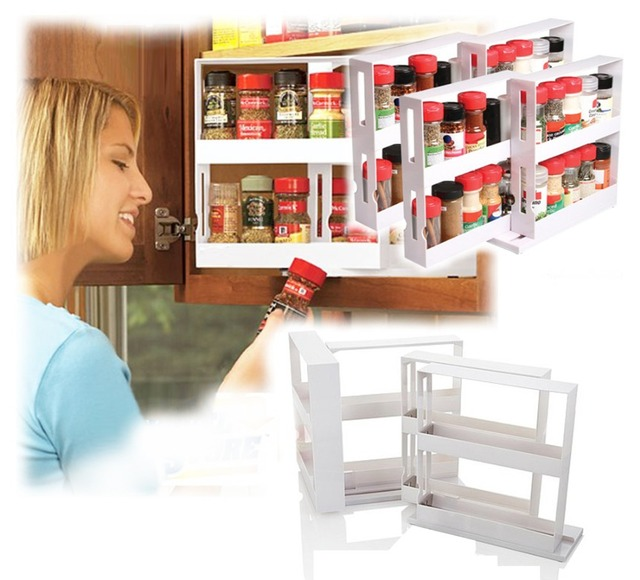 Superieur Kitchen Newest White Cabinet Organizer 4 Racks Set Swivel Store Deluxe  Spice Rack Storage System