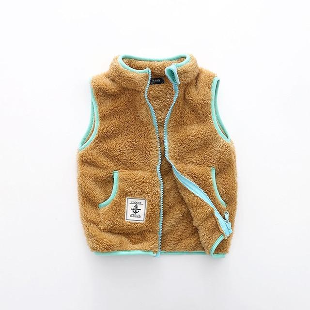 Kid's Contrast Trim Plush Vest 1