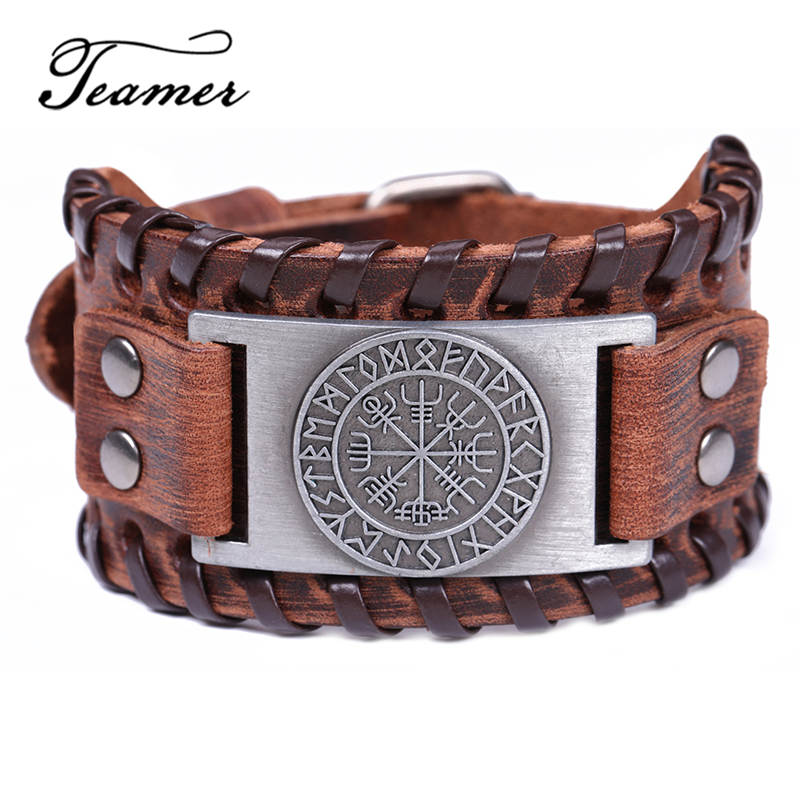 Teamer Nordic Viking Rune Vegvisir Compass Charm Bangle