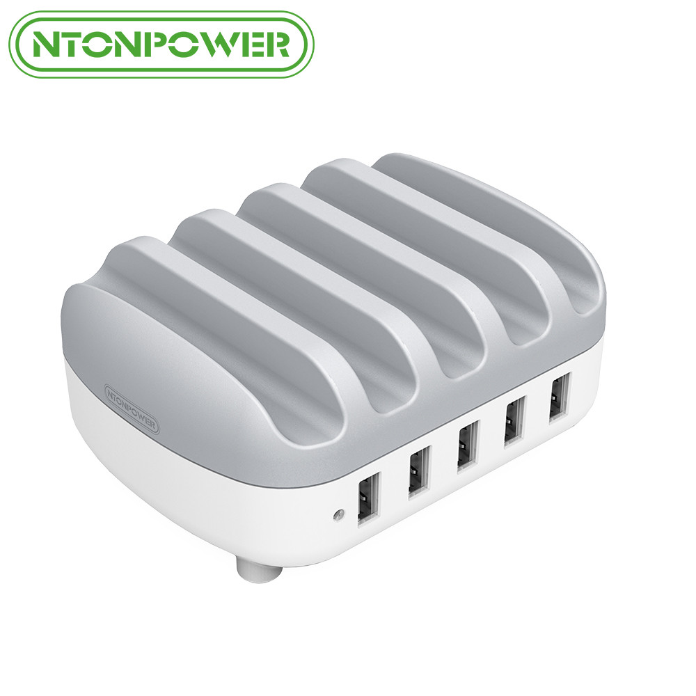 NTONPOWER 5 Ports USB Charger Desktop charger Station 5V 2.4A Charging for Mobile Phone and Tablet with Phone Holder