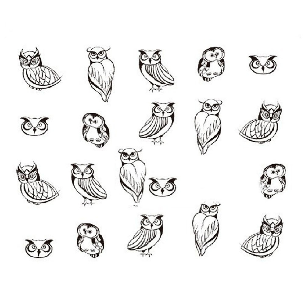 1sheet!!! New Fashion Black Owl Printing Nail Art Decals